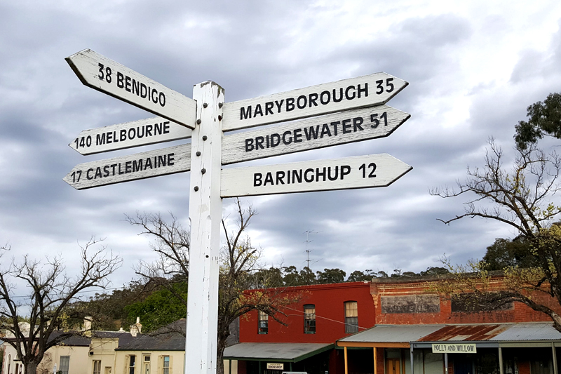 Signs showing distances to Maldon
